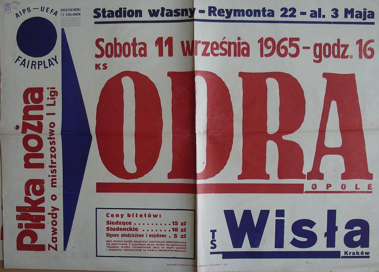 Afisz zapowiadający mecz Wisły Kraków z Odrą Opole (1965/1966).