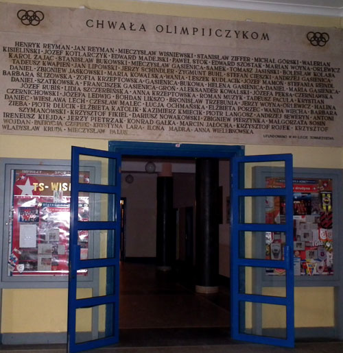 Commemorative plaque dedicated to Wisła Olympians in the club's hall