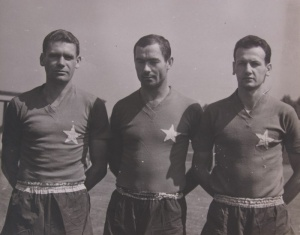 Wisła defenders in the sixties: Monica, Kawula, Budka with a very orthodox design of the kit.